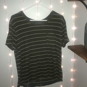 Olive green and white stripes tee